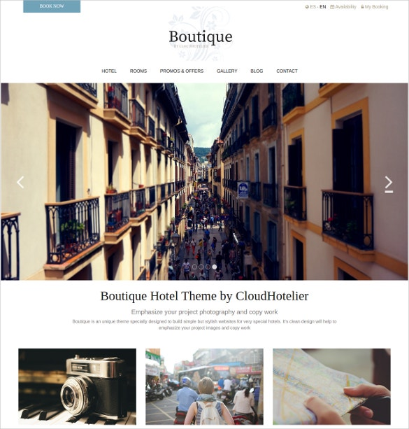 Fresh, Hotel Boutique Website Theme