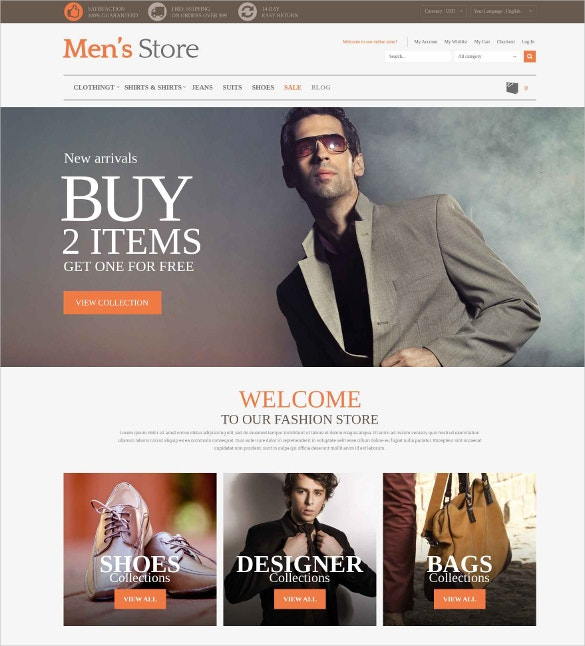 mens clothing boutique style magento website theme