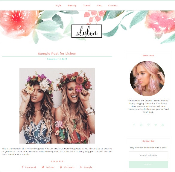 Boutique Personal WordPress Blog Website Theme $36
