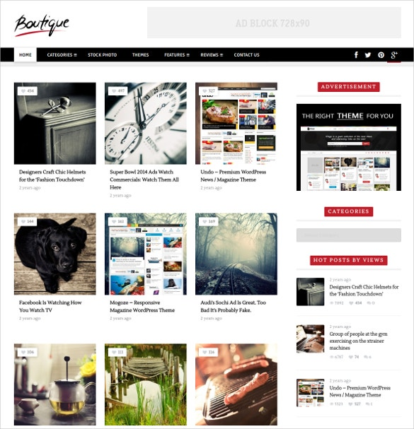 Boutique Grid WordPress Website Theme $49