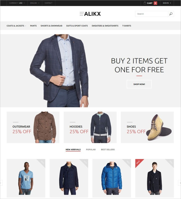 Men's Clothing Boutique PrestaShop Website Theme $139