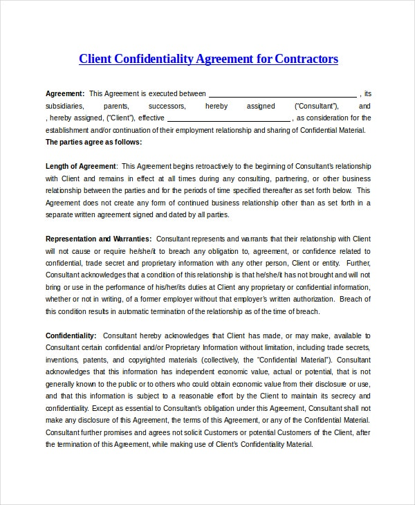 Client Confidentiality Agreement 9 Free Word Excel Pdf