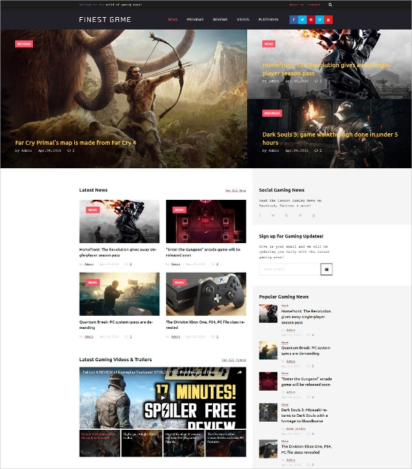 Finest Game WordPress Theme