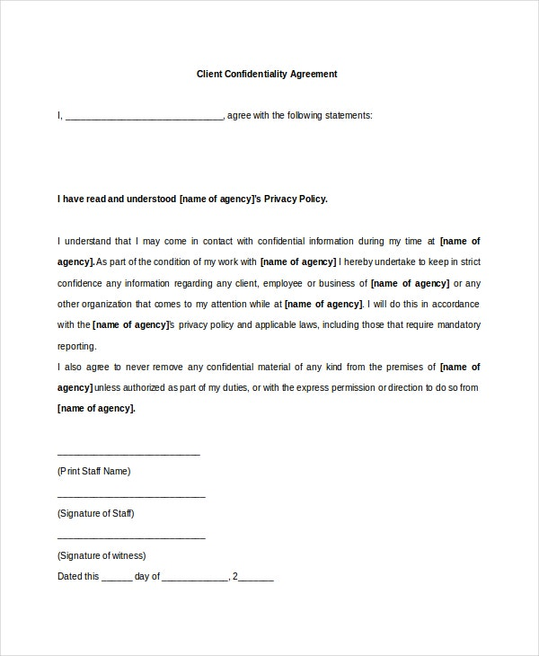 Client Confidentiality Agreement   Free Word Excel Pdf