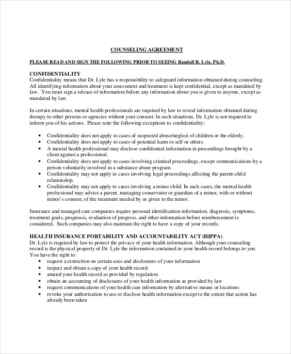 Client Confidentiality Counseling Agreement