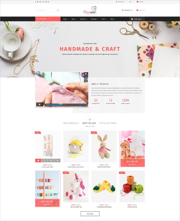 Handmade & Craft Ecommerce PSD Template