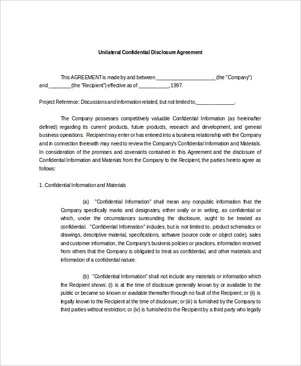 unilateral confidential disclosure agreement