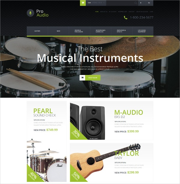 music gear opencart website template 89
