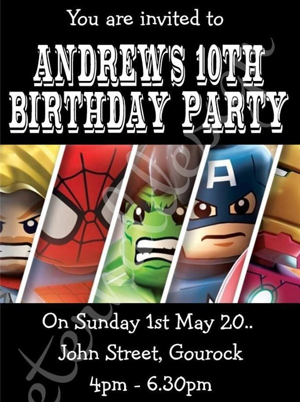 Kids Birthday Party Invites Marvel SuperHeroes