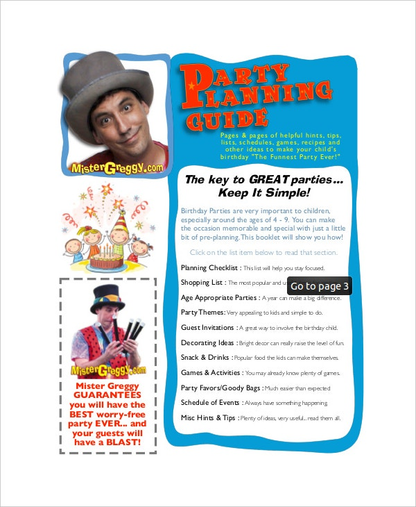 Party Planning Guide Itinerary Free PDF