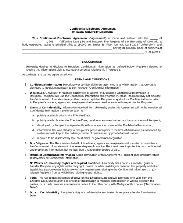 Confidential disclosure agreement 9 free word pdf for Cda agreement template