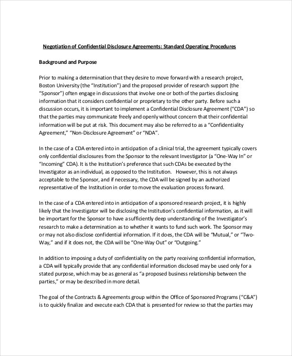 Confidential disclosure agreement 9 free word pdf for Negotiation contract template