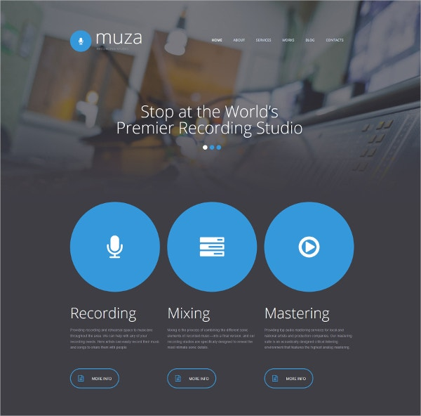 recording music studio moto cms 3 website template 199