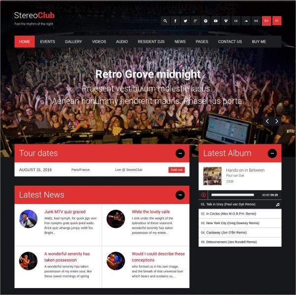 night club party music band wordpress website theme