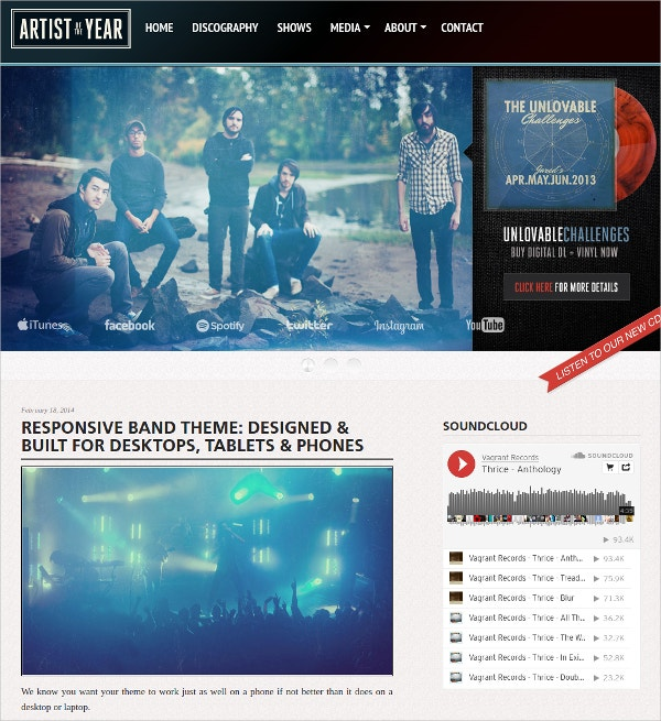 music band artist wordpress website theme