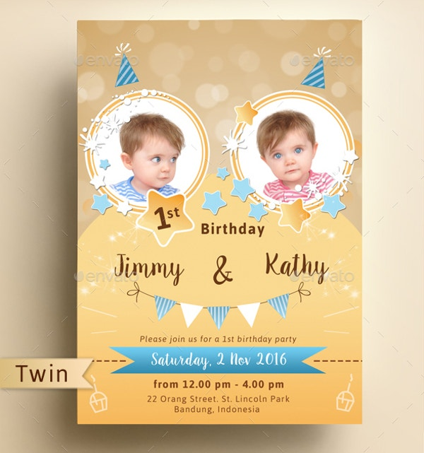Sparkling Colourful Twins Kids Birthday Invitation