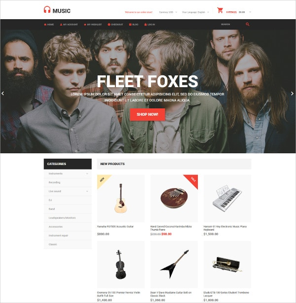 music store magento website theme 179