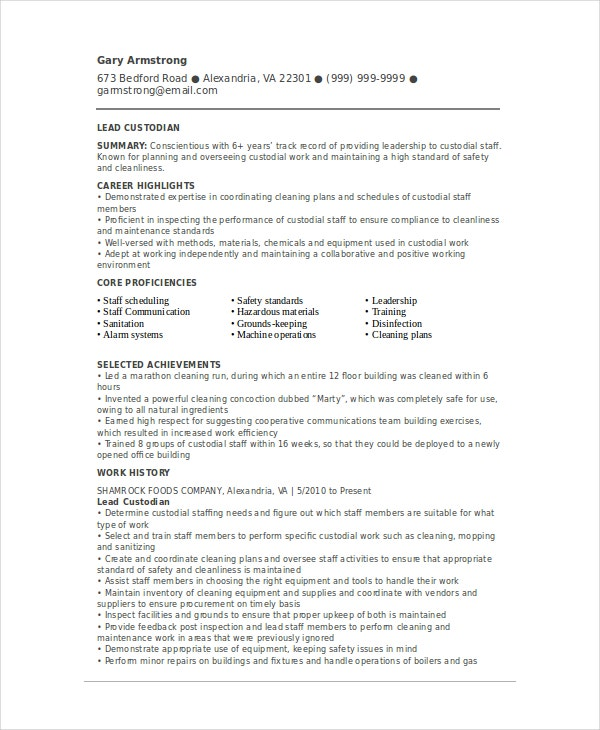 Custodian Resume Template 6 Free Word Pdf Documents Download