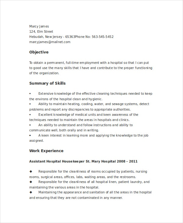 resume for janitorial services