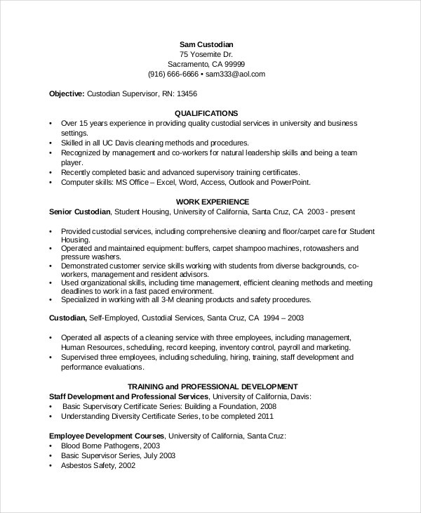 sample chronlogical ustodian resume template