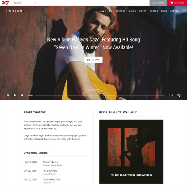 beautiful music band website theme