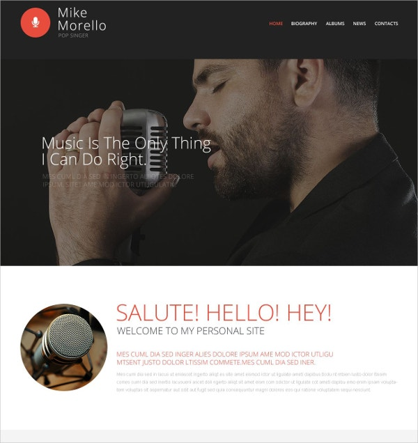 music singers portfolio website template 69