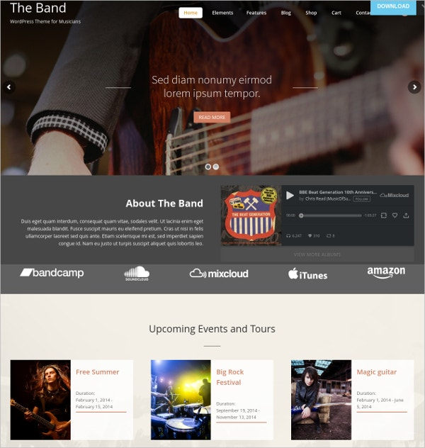 Theme For Band & Musicians Website