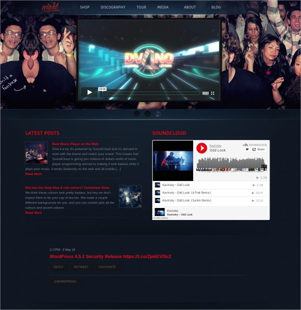 night club music band wordpress website theme