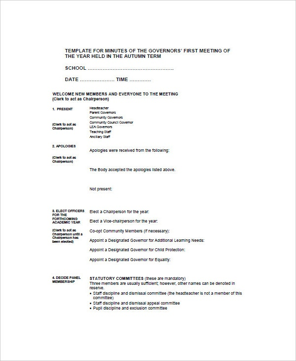 Sample School Meeting Minutes Template Download