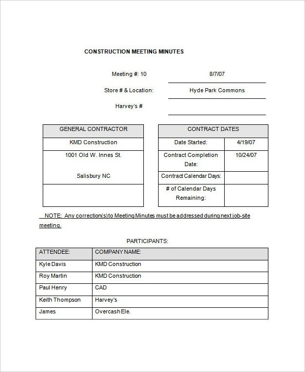 10 meeting minute templates free sample example format free construction project meeting minutes template download maxwellsz