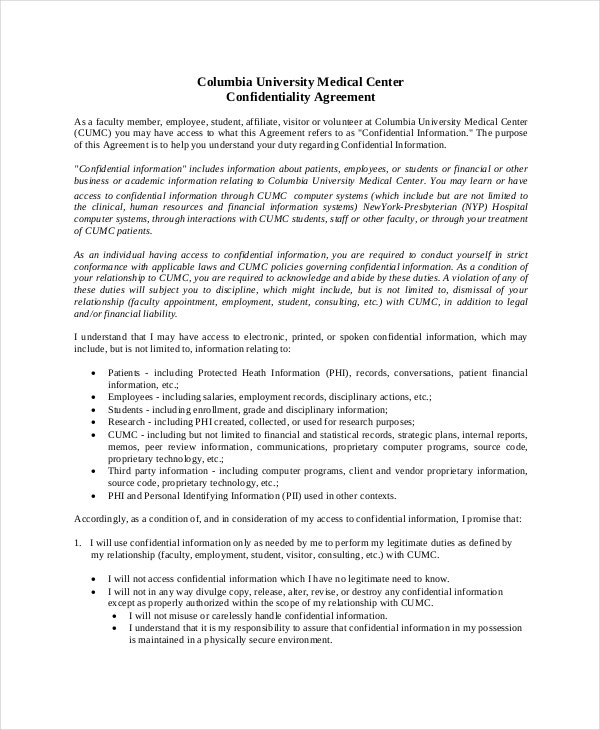 Confidentiality Agreement Form 8 Free Word PDF Documents – Medical Confidentiality Agreement