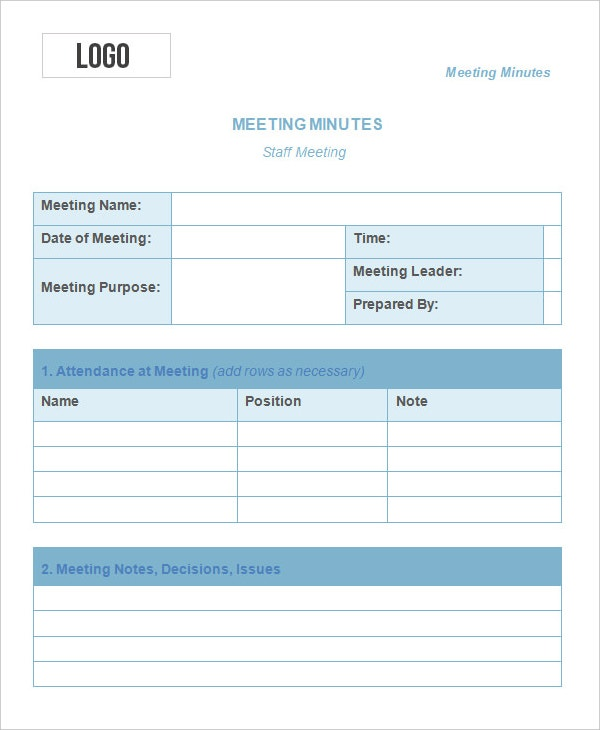 10 meeting minute templates free sample example for Weekly meeting minutes template