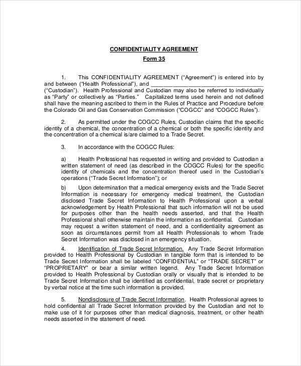 Confidentiality Agreement Form – 8+ Free Word, Pdf Documents