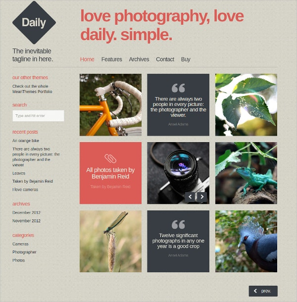 Beautiful WordPress Blog & Photo Website Theme $39