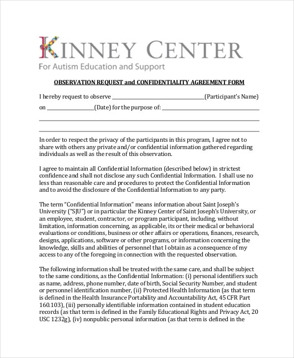 Observation Request and Confidentiality Agreement Form