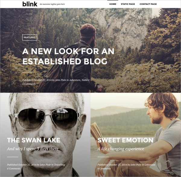 Minimal Photography WordPress Blogging Website Theme $35