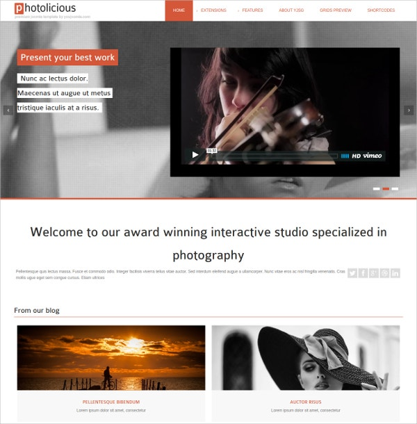 Photo Studio & Video Joomla Website Template