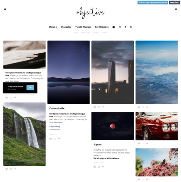 Photo Grid Portfolio Blogging Website Theme $32