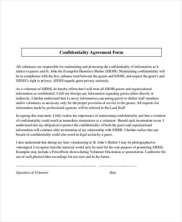 Volunteers Confidentiality Agreement Form