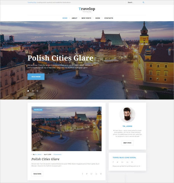 Traveling Blog Photo WordPress Website Theme $45