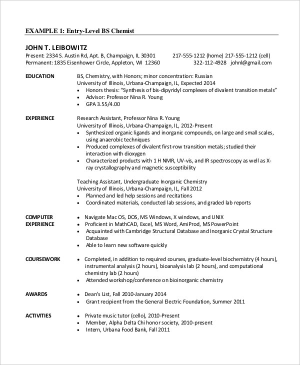 Chemistry Resume Example - Template