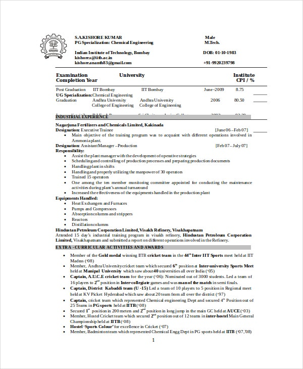 Good Resume For Chemical Engineer