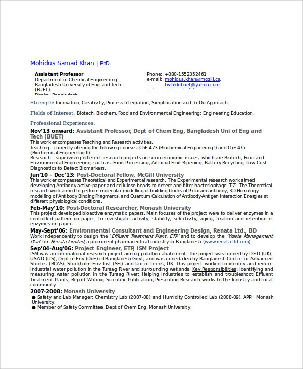 Chemical Project Engineer Resume  Chemical Engineering Resume