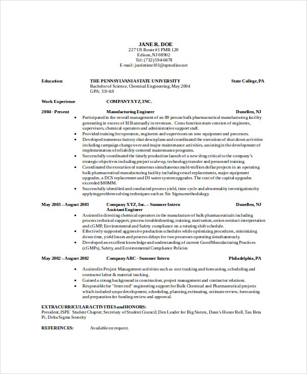 Delicieux Experienced Chemical Engineer Resume