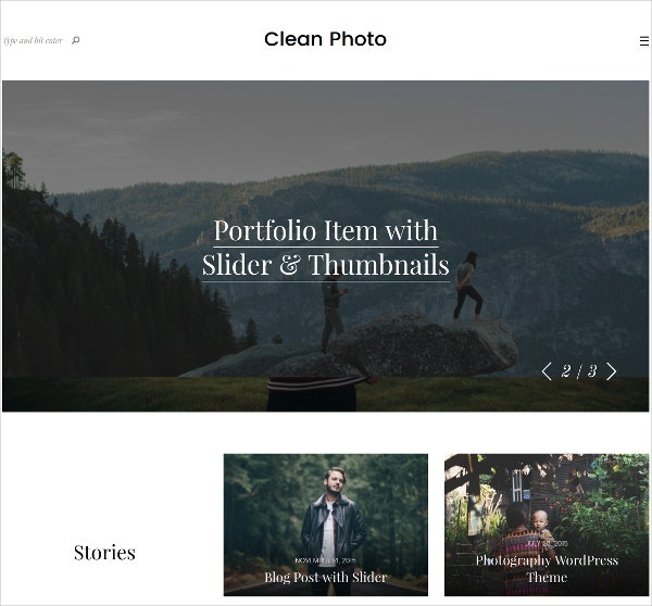 Simple Photography WordPress Website Theme $49