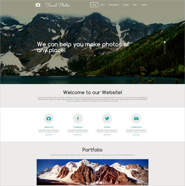 Photographer Portfolio Moto CMS 3 Website Template $199