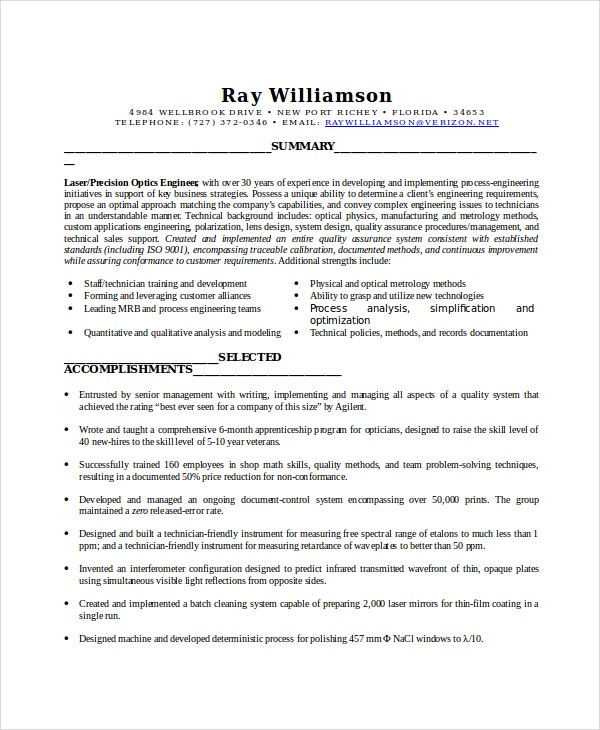 Optician Resume Template - 6+ Free Word, PDF Documents Download ...