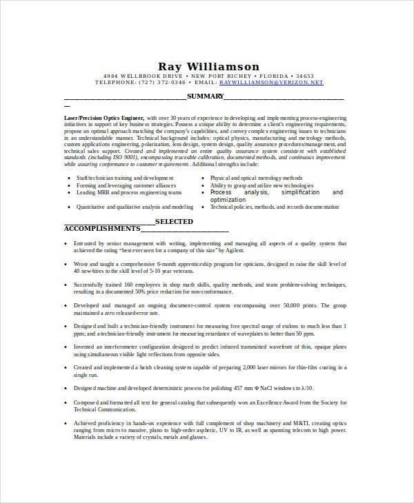 optical technician resume