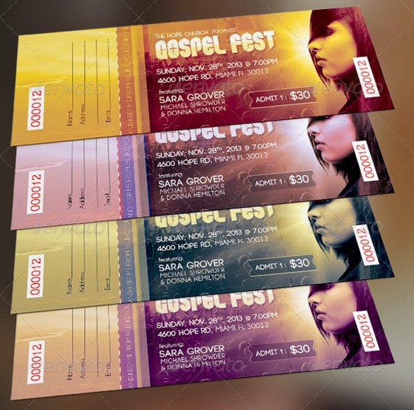 Elegant Gospel Fest Concert Ticket Template
