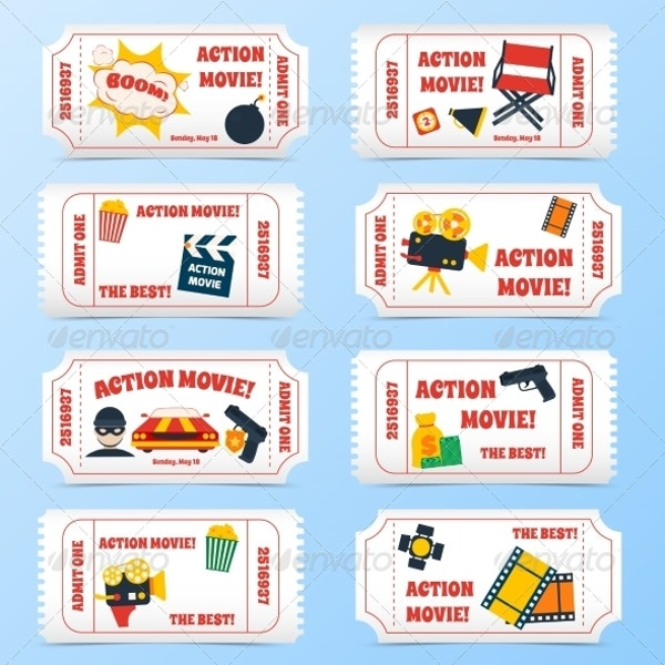 Action Movie Tickets Set